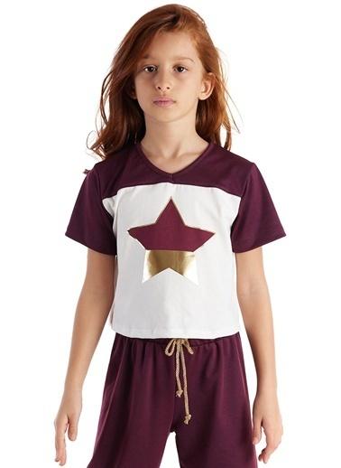 Colorinas Burgundy Star Foil T-Shirt Beyaz
